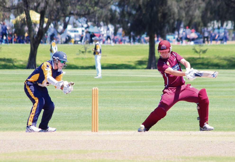 Damien Burrage plays a cover drive against Gosnells at Sutherlands Park on Saturday. Picture: Tim Slater