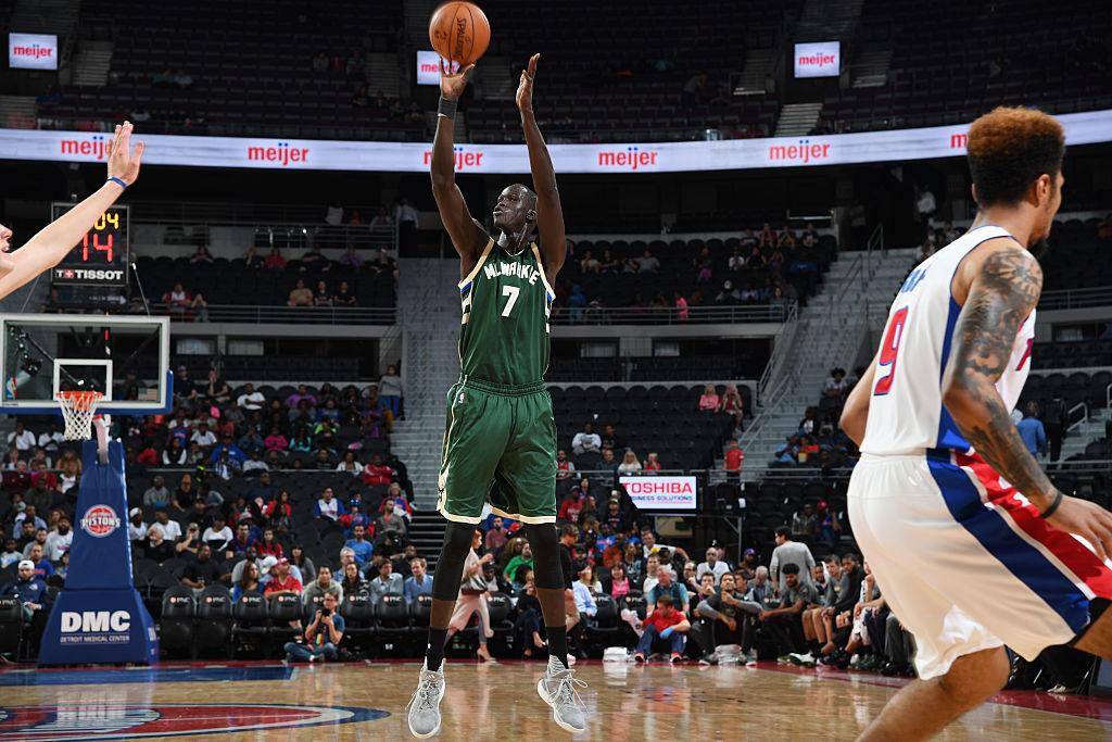 Thon Maker in pre-season action against Detroit Pistons. Picture: Chris Schwelger/Getty Images