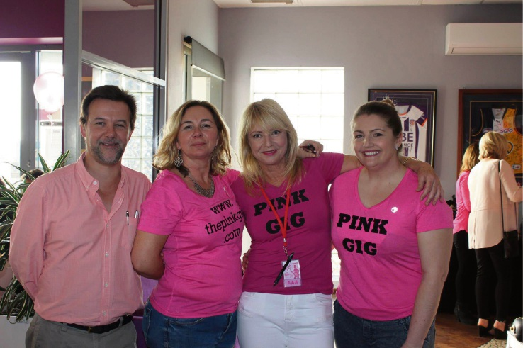 Hosts Tim and Claire Leech, Jane Baroni and Linda Parsons from Breast Cancer Care WA.