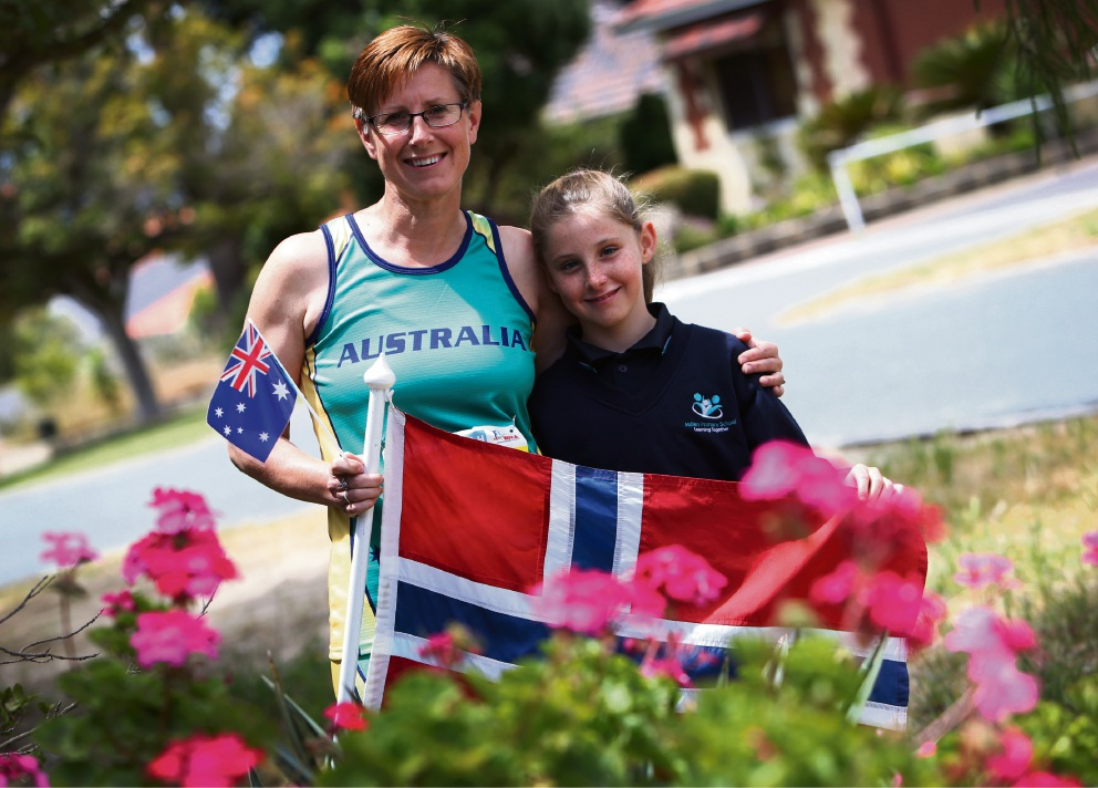 Janne Wells with daughter Kristine (11). Janne will be taking part in the World Masters Athletics Championships. Picture: Matt Jelonek