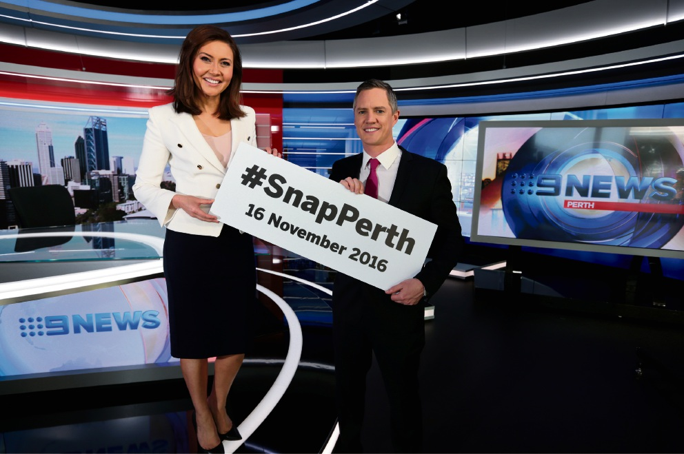 Channel Nine News presenters Emmy Kubainski and Tim McMillan help with the SnapPerth message. Picture: David Baylis