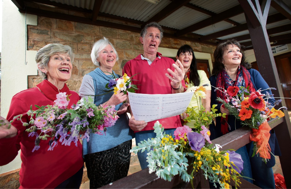 Members of Swan Harmony Singers in rehearsal. Maureen de la Harpe of Darlington, left, Sue O'Sullivan of Darlington, Chris Durrant of Darlington, Heather Lynch of Middle Swan and Shirley Durrant of Darlington. Picture: David Baylis.
