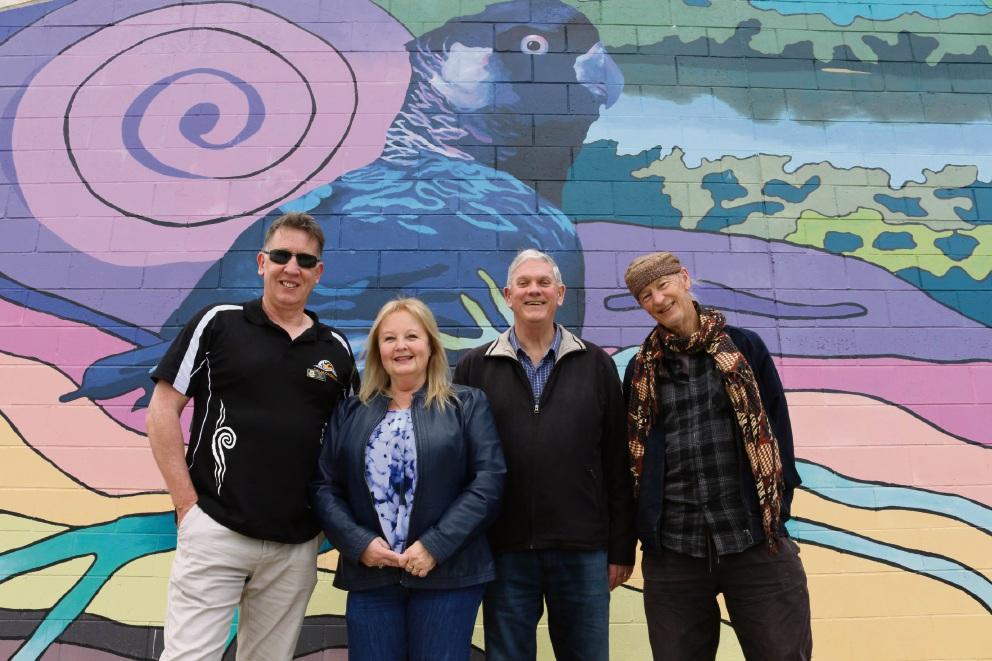 Cockburn councillor Phillip Eva, deputy Mayor Carol Reeve-Fowkes, Mayor Logan Howlett and artist Chandy Prendergast.