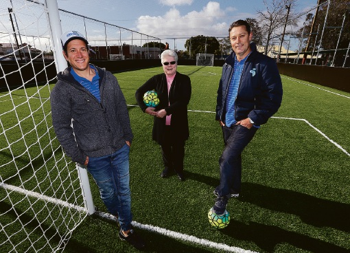Area 5 Football directors Miguel Maron and Bryan Raeburn and Victoria Park Carlisle Bowling Club president Meryl Bolton. Picture: Matt Jelonek