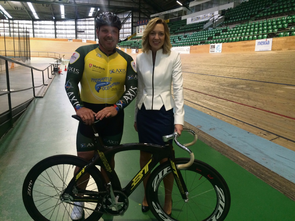 Former Olympic cyclist Darryn Hill with Sport and Recreation Minister Mia Davies.