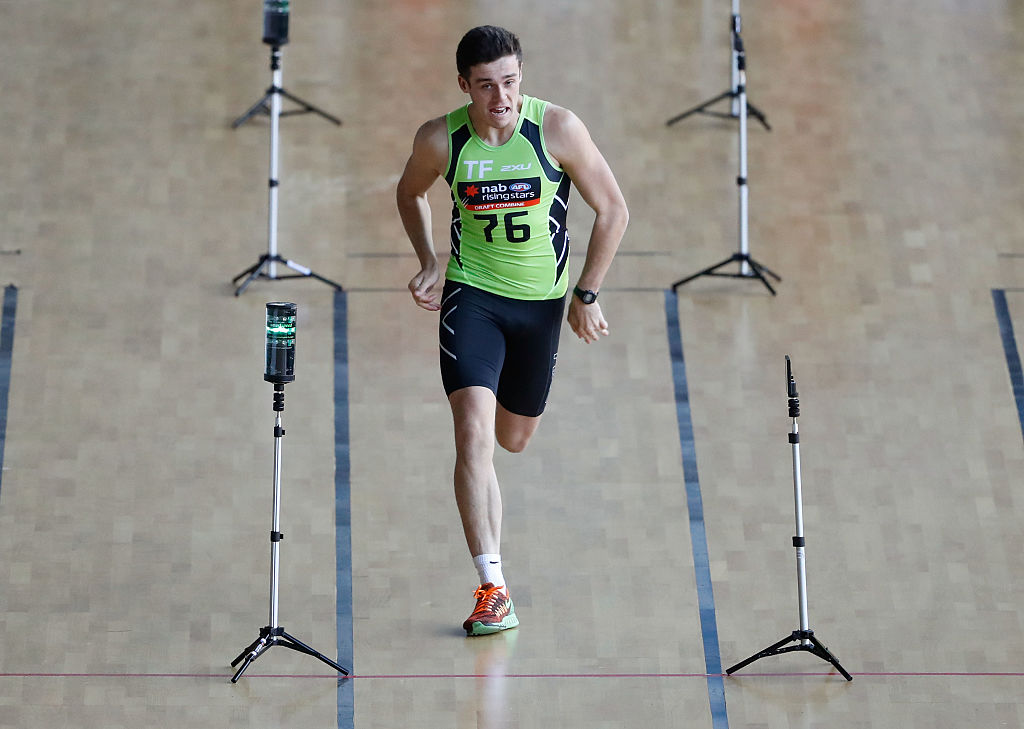 Jake Waterman running sprints during the AFL Draft Combine. Picture: Adam Trafford/AFL Media/Getty Images