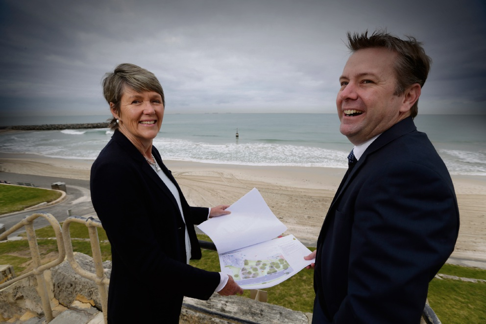 Cottesloe Mayor Jo Dawkins and chief executive Mat Humfrey want comment on the masterplan to refurbish the foreshore at Cottesloe.