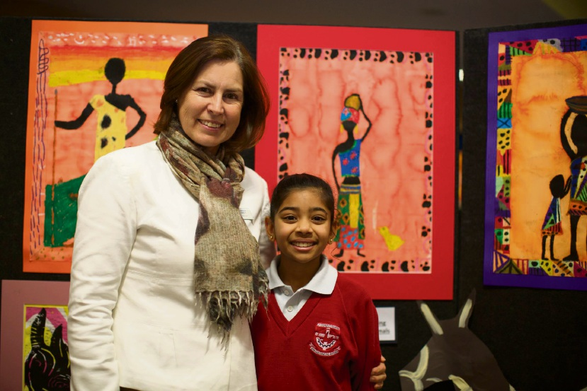 Year 5 student Diya Shar, who won the Junior Art Acquisition Award for Carramar, with Carramar head of primary Darnelle Pretorius.
