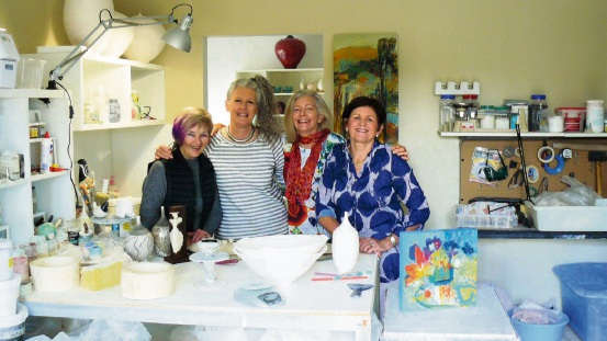 Local artist and ceramists Bev McMahon, Judith Paisley, Kim Maple and Victoria Malone.