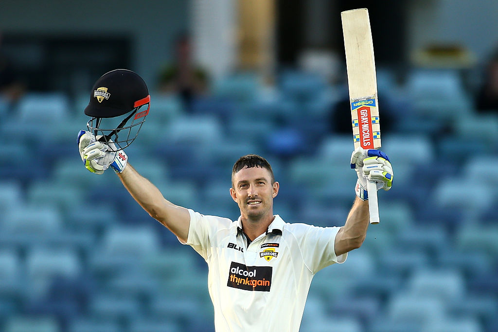 Shaun Marsh celebrates his century on day three of the Sheffield Shield match between WA and SA . Picture: Paul Kane/Getty Images