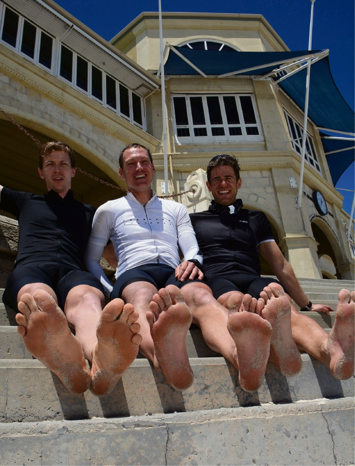 Gaven Cruise, Ed Litton and Laurence Greeenfild needed to cool off at Cottesloe Beach after completing their ride.