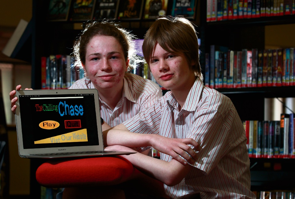 Ursula Frayne Catholic College students Seth Shaw (14) and Harry Brayford (14) with their computer game The Chilling Chase. Picture: Marie Nirme