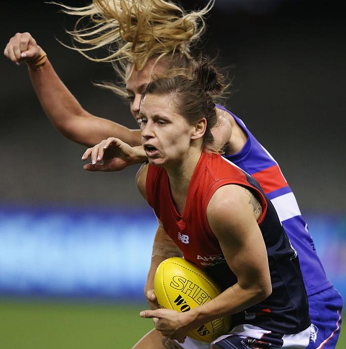 Kiara Bowers playing for Melbourne Demons against the Bulldogs in a Women's AFL exhibition match last year. Picture: Michael Dodge/Getty Images