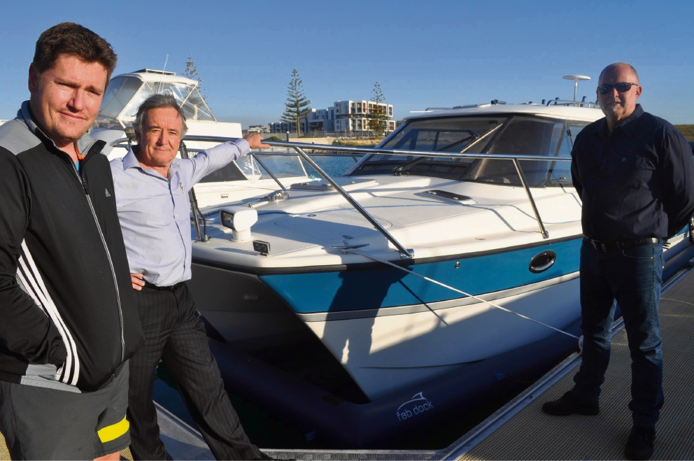 Port Coogee Marina pen holder Anton von Wielligh with Cockburn councillor Kevin Allen and pen holder Tony Merlino.
