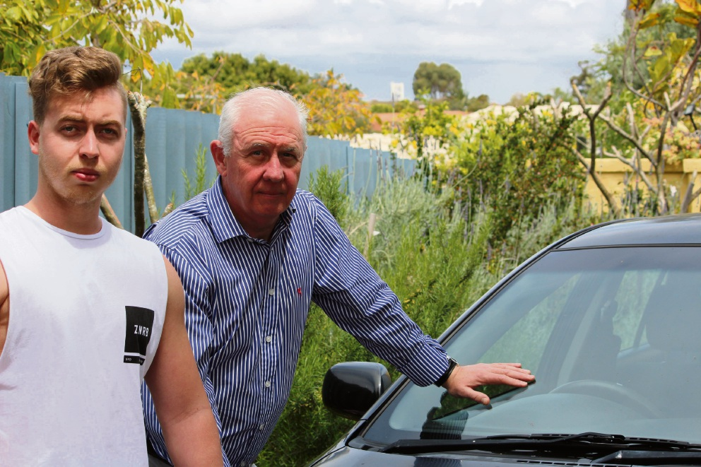 Hunter Eva with Cockburn MLA Fran Logan and the car he says was covered in dust. Below: dust on the car.