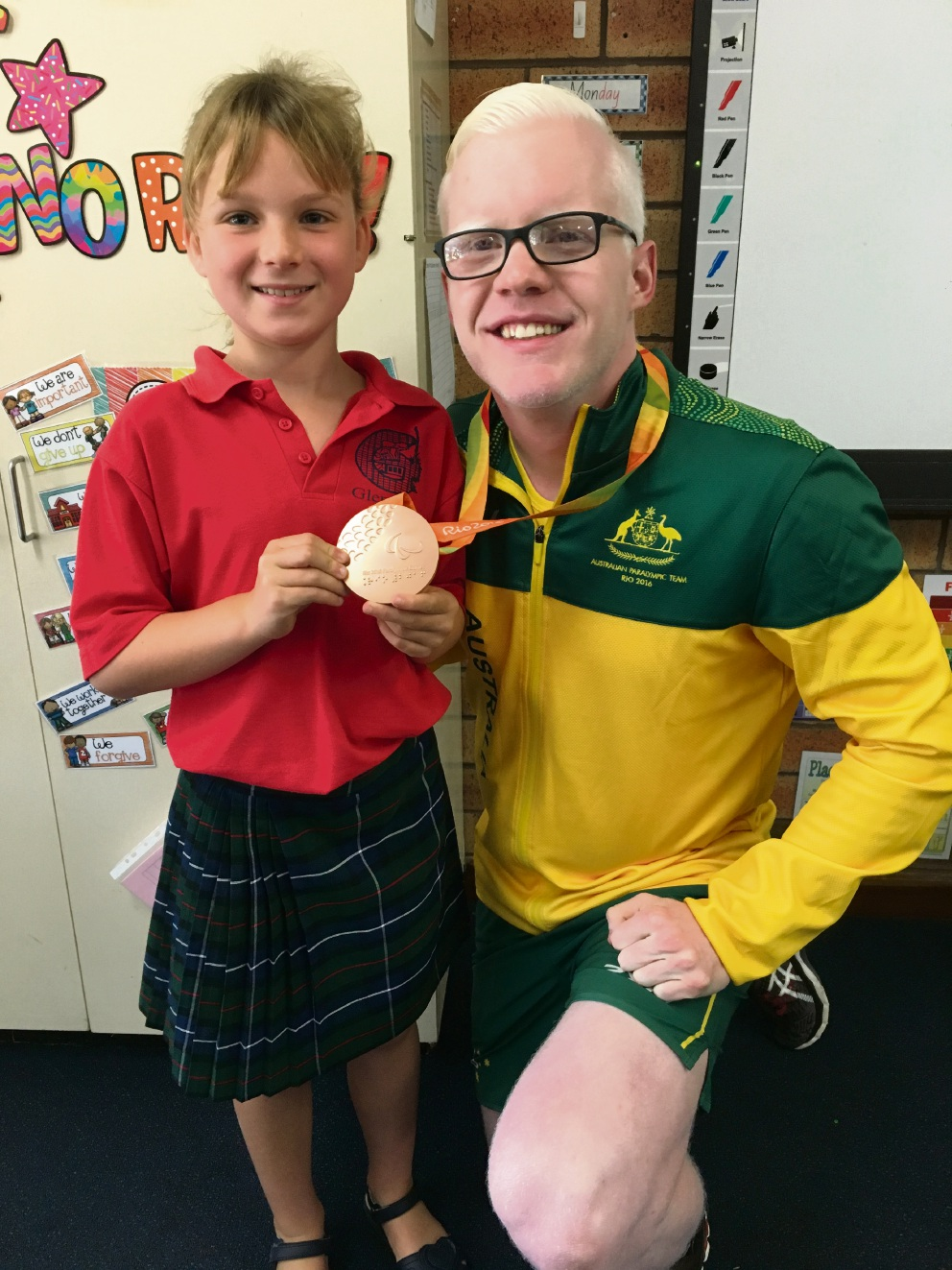 Glengarry Primary School student Isabelle Schonfeld (8) with Chad Perris