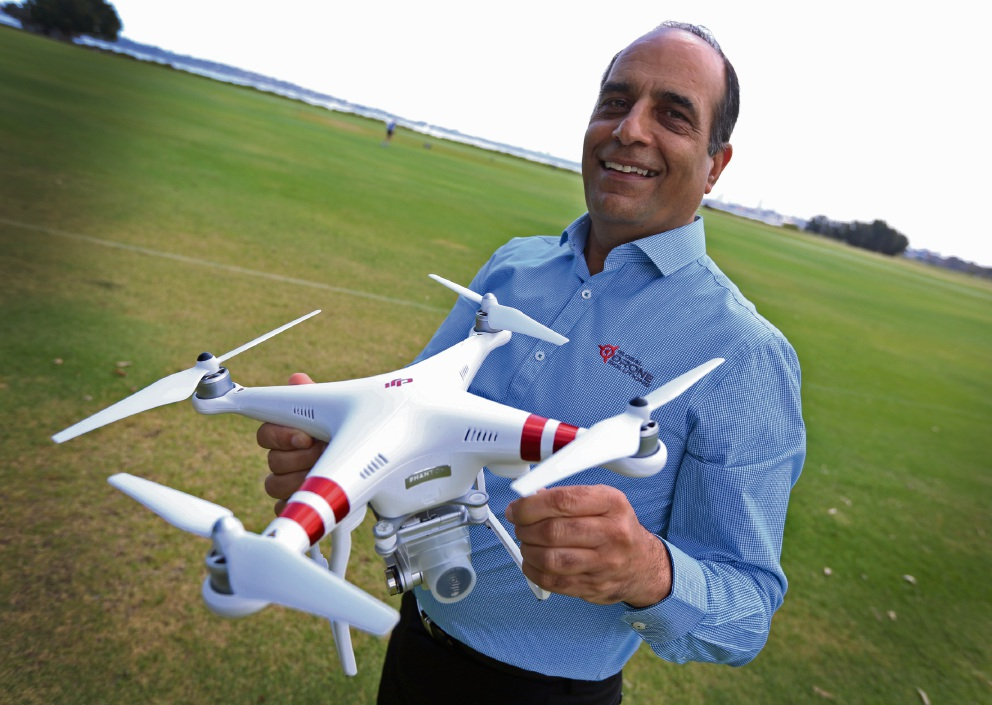 Global Drone Solutions owner Mahmood Hussein. Picture: Matt Jelonek           d461178