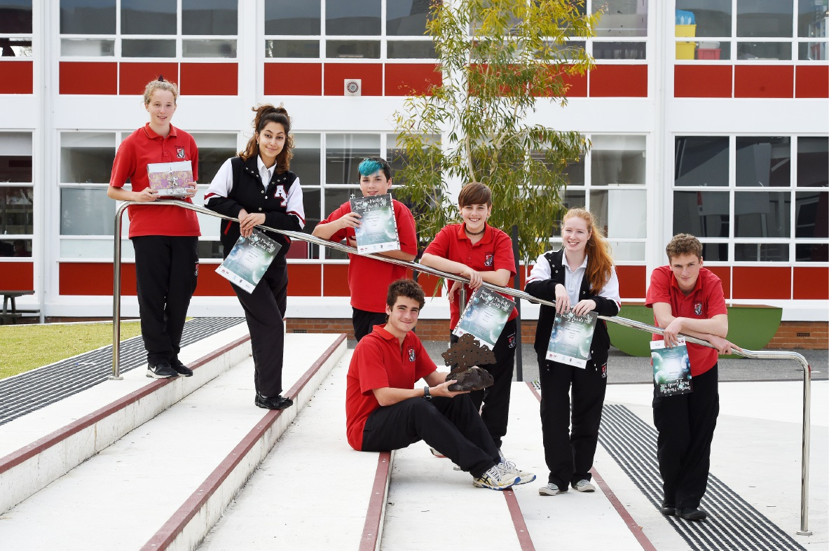 Applecross Senior High School students Claudia Yates, left, Rezvan Cyrus, Lewis Winetroube, Eva Mustapic, Michelle Greenwell and Sam Meekan. Callum Vukovich is in the middle. Picture: Jon Hewson.