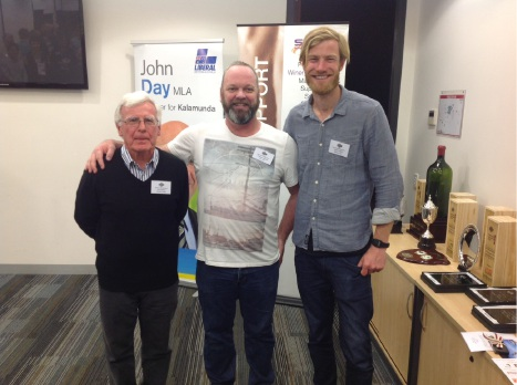 Judges John Hanley, Andrew Seppelt and Associate judge Shaun Luetich were delighted at the range of wines offered in the Perth Hills wine Show this year. Absent: Ray Jordan. Photo: Daniela Tonon.
