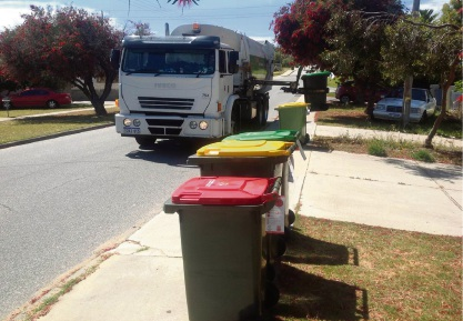A Cockburn green waste truck picks up a garden waste bin during a trial in Hamilton Hill.