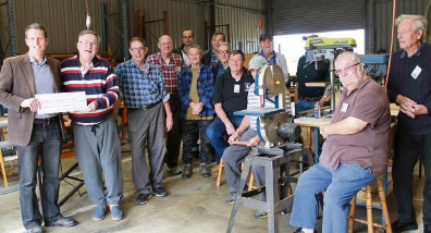 Fremantle MP Josh Wilson with Cockburn Men's Shed members last week.