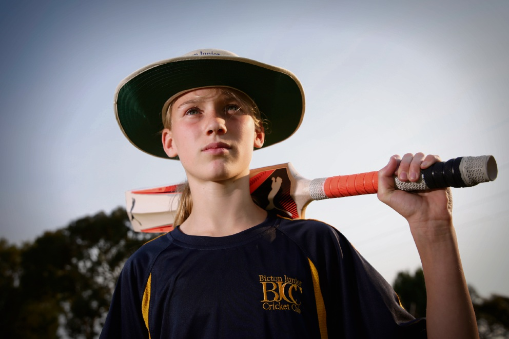 Tamsyn Anderson (12) from Bicton Junior Cricket Club. The Perth Scorchers Girls League kicked off over the weekend. Picture: Andrew Ritchie
