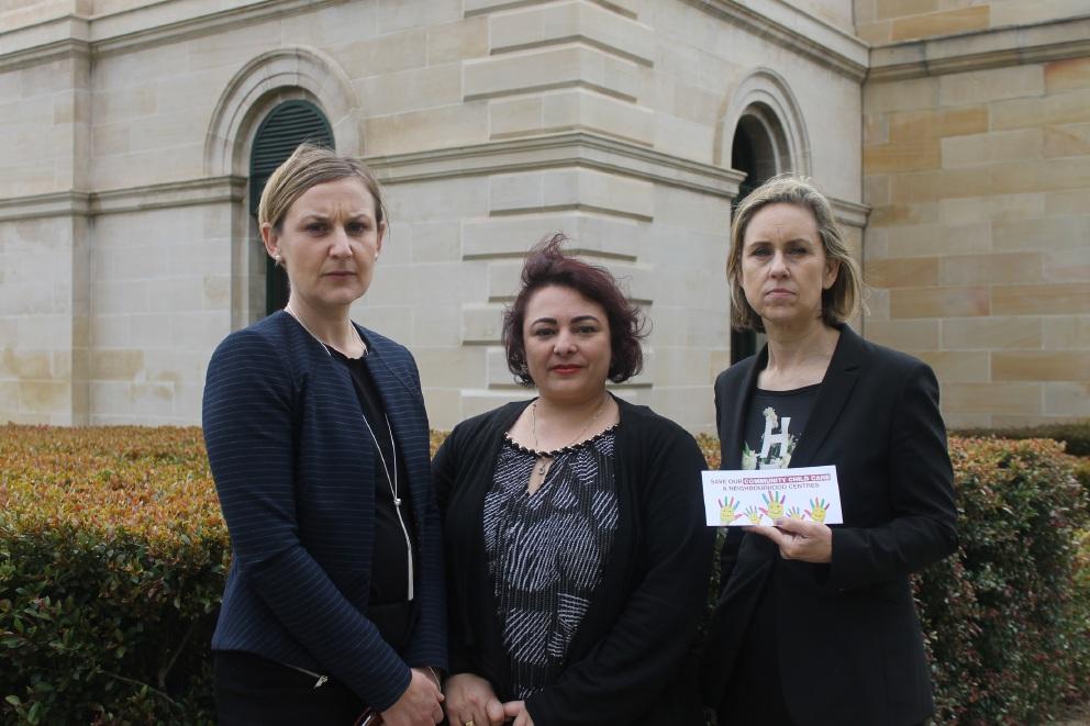 East Metro MLC Amber-Jade Sanderson, Noranda Child Care Centre's Maria Stella and Labor community services spokeswoman Simone McGurk.