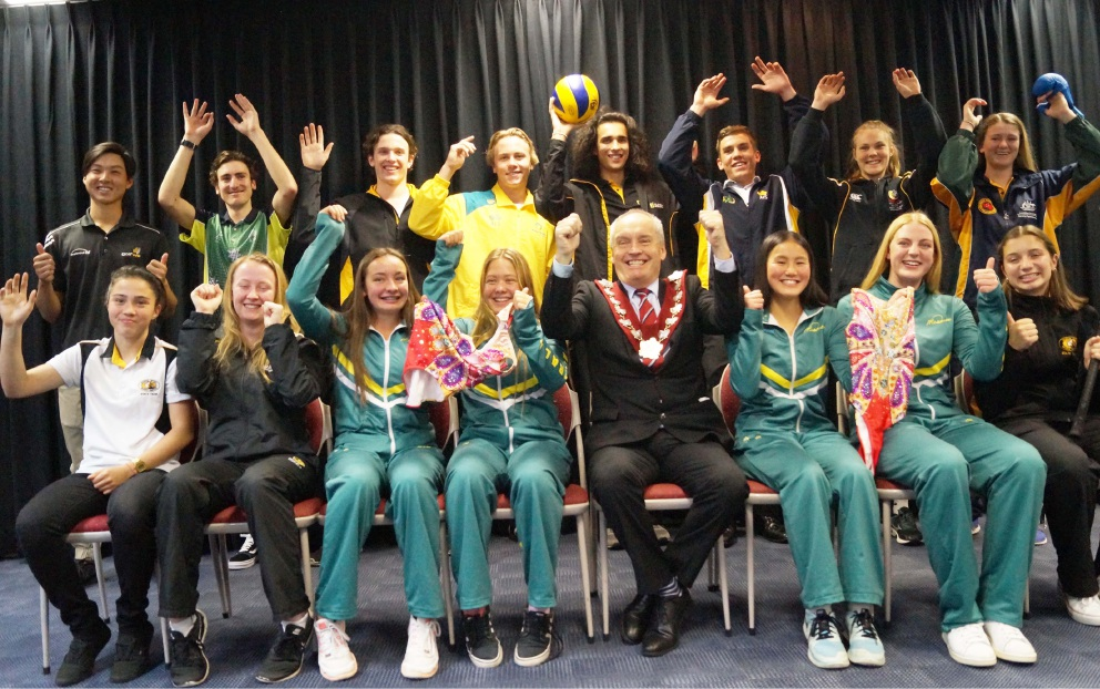 Melville Mayor Russell Aubrey with the 15 of the 17 Youth Sports Scholarship recipients for 2016.