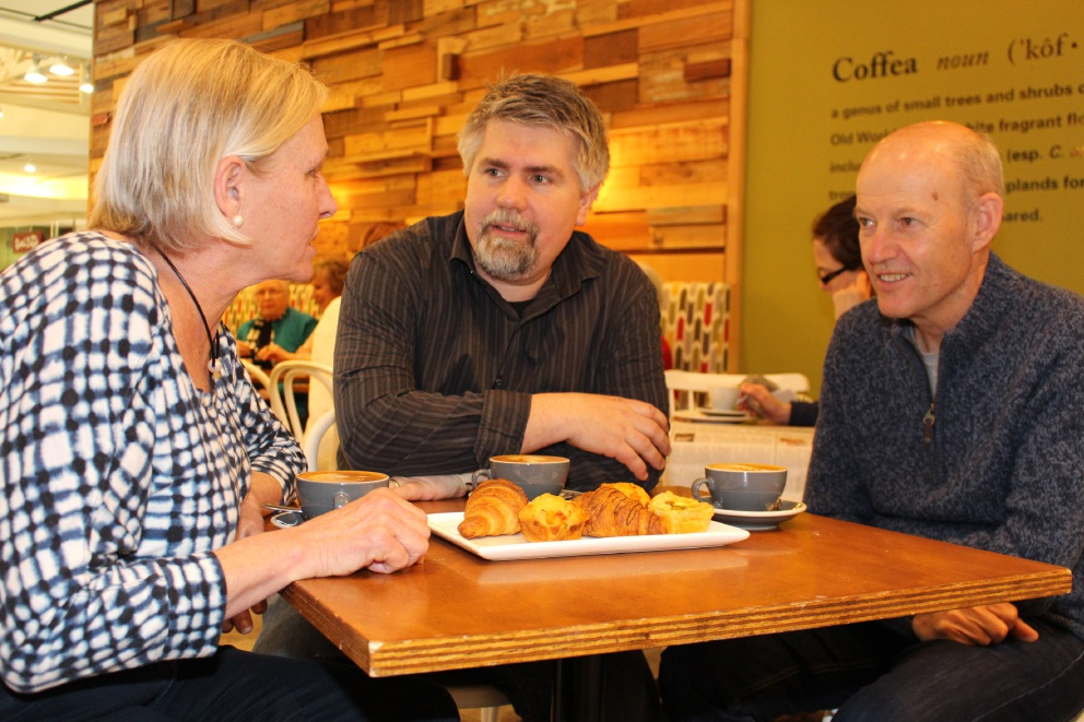 Wendy Glance, Coffea Fine Espresso owner Euro Lumb and Keith Glance enjoy a coffee at the Memory Cafe launch.