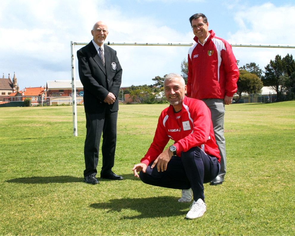 Alastair Mackay (Fremantle United), left, Maurice Oteri (Fremantle City) and Alan Ferris (East Fremantle Tricolore) are looking forward to the next step in the One Club proposal. Picture: Robin Kornet.