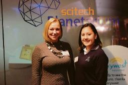 Biogen Perth business manager Alison Austin and Como Secondary College Heidi Mulot.
