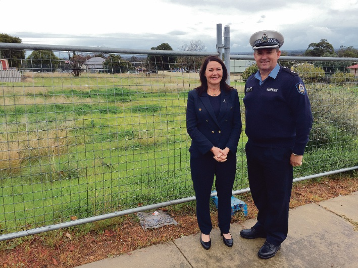 Police Minister Liza Harvey and Superintendent Brad Sorrell at the site of the new Armadale justice complex.
