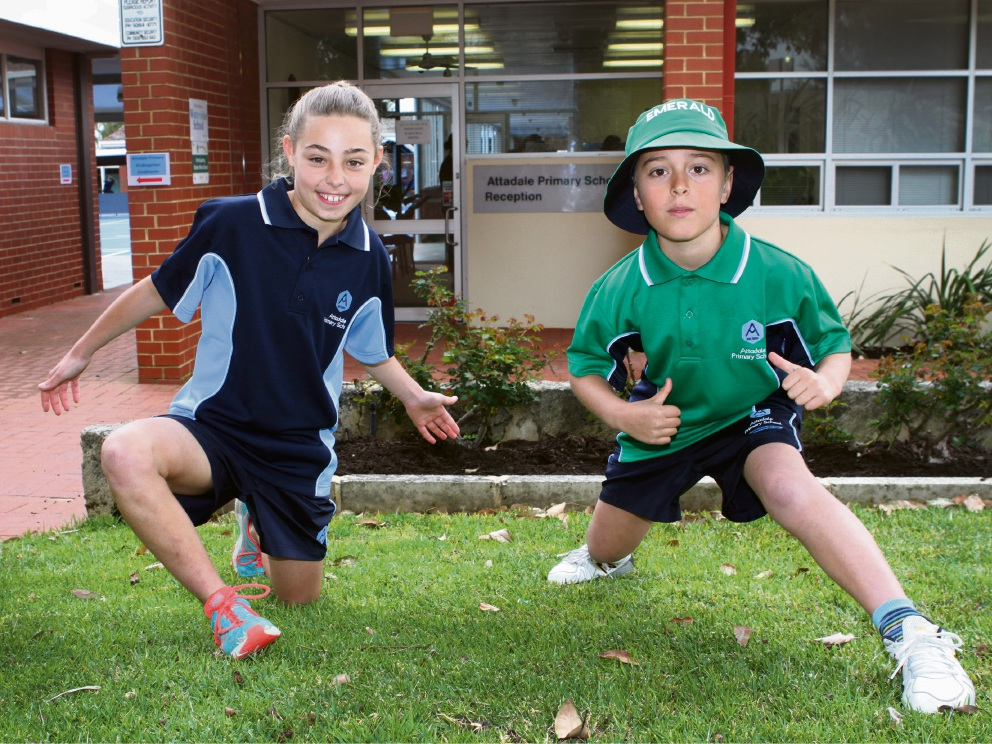 Year 5 Alex Poad and Year 4 James Titterton are excited about the new-look Attadale Primary School uniforms. Picture: Robin Kornet        www.communitypix.com.au   d459226