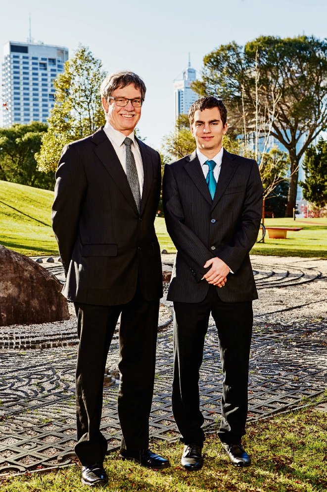 Graduate engineer Nathan Mazoue with Energy Minister Mike Nahan.
