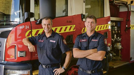 Firefighters Mario Tepass and Todd Andrews. Picture: Theo Fakas/Perth Now