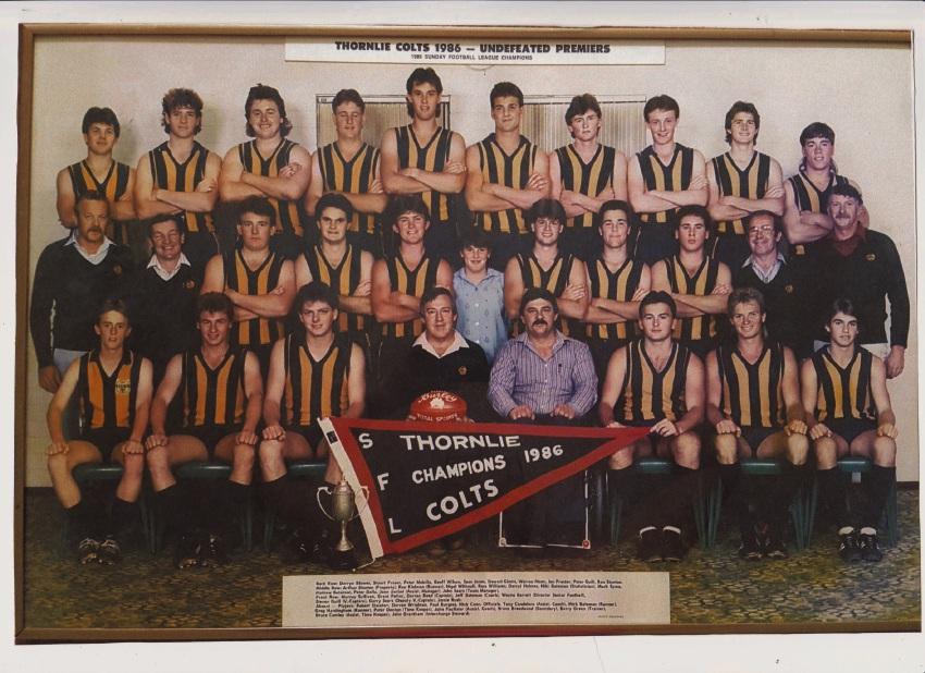 Thornlie Football Club's 1986 Colts Premiership team.