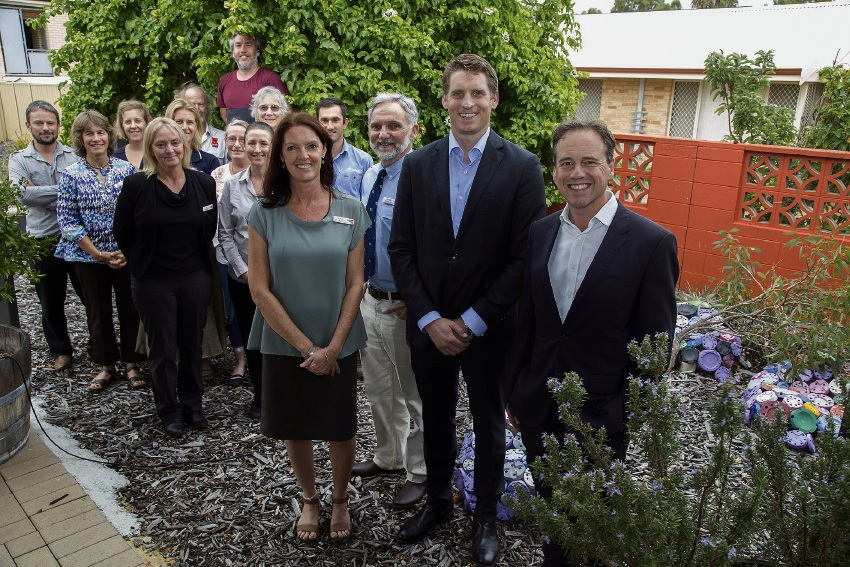 Environment Minister Greg Hunt, MP for Canning Andrew Hastie, Andy Gulliver Chairman and Jane O'Malley CEO of Peel-Harvey Catchment Council with representatives from the 12 partner organisations who will share the three Green Army Teams.