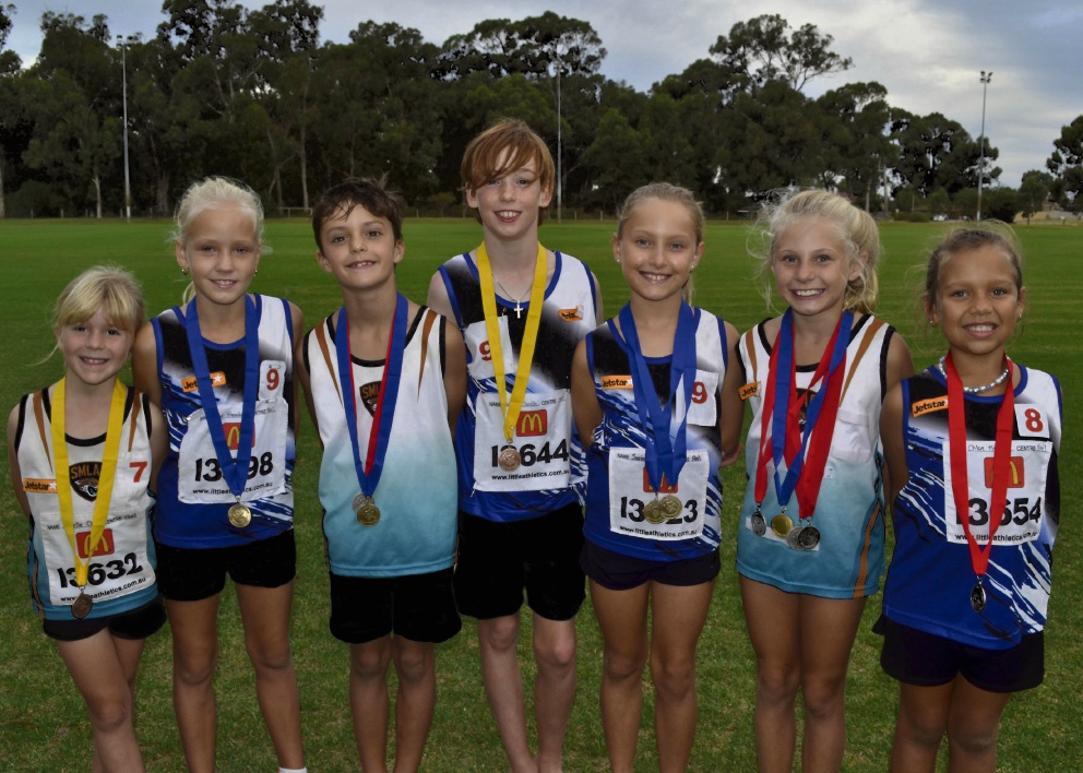 Peel District Little Athletics Centre members Isabella Clausen, Starr Hawkins, Axel Teillagorry, Aston Smith, Sarina Fahey, Rachael Padfield, Chloe Billing.