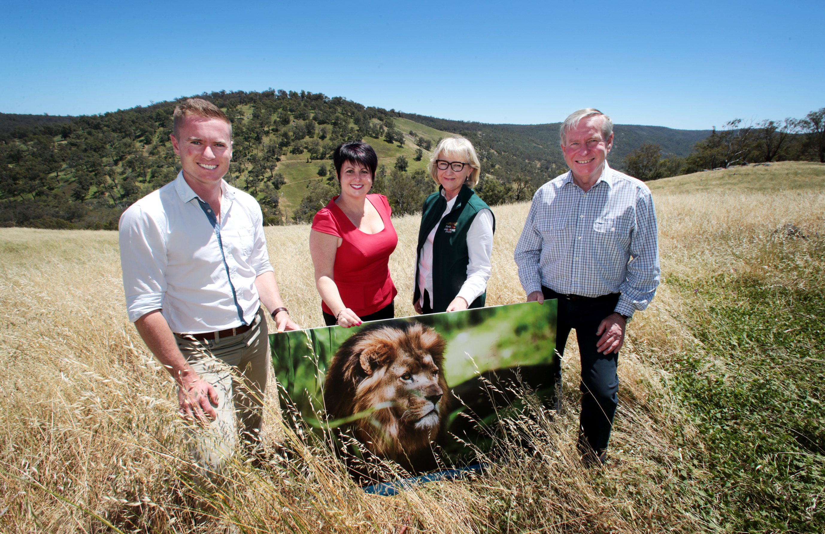 Minister for Environment Albert Jacob, Alyssa Hayden MLC, Perth Zoo chief executive Susan Hunt and WA Premier Colin Barnett at the proposed site for the new Open Range Zoo in Lower Chittering. Picture: David Baylis
