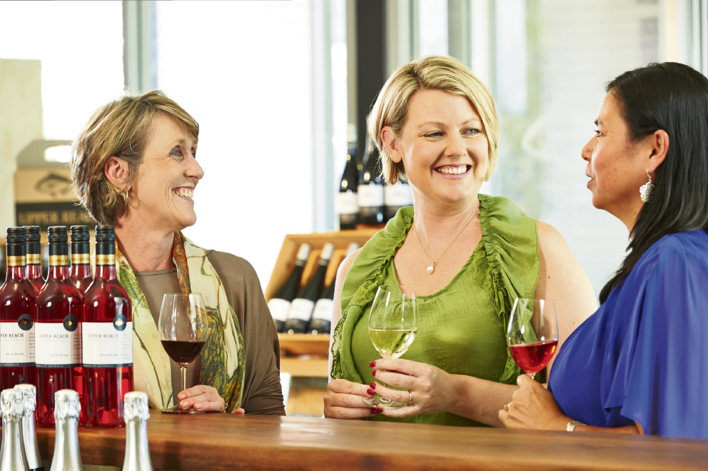 Cellar Door Person of the Year finalist Renee Brown (centre) with Upper Reach colleagues.