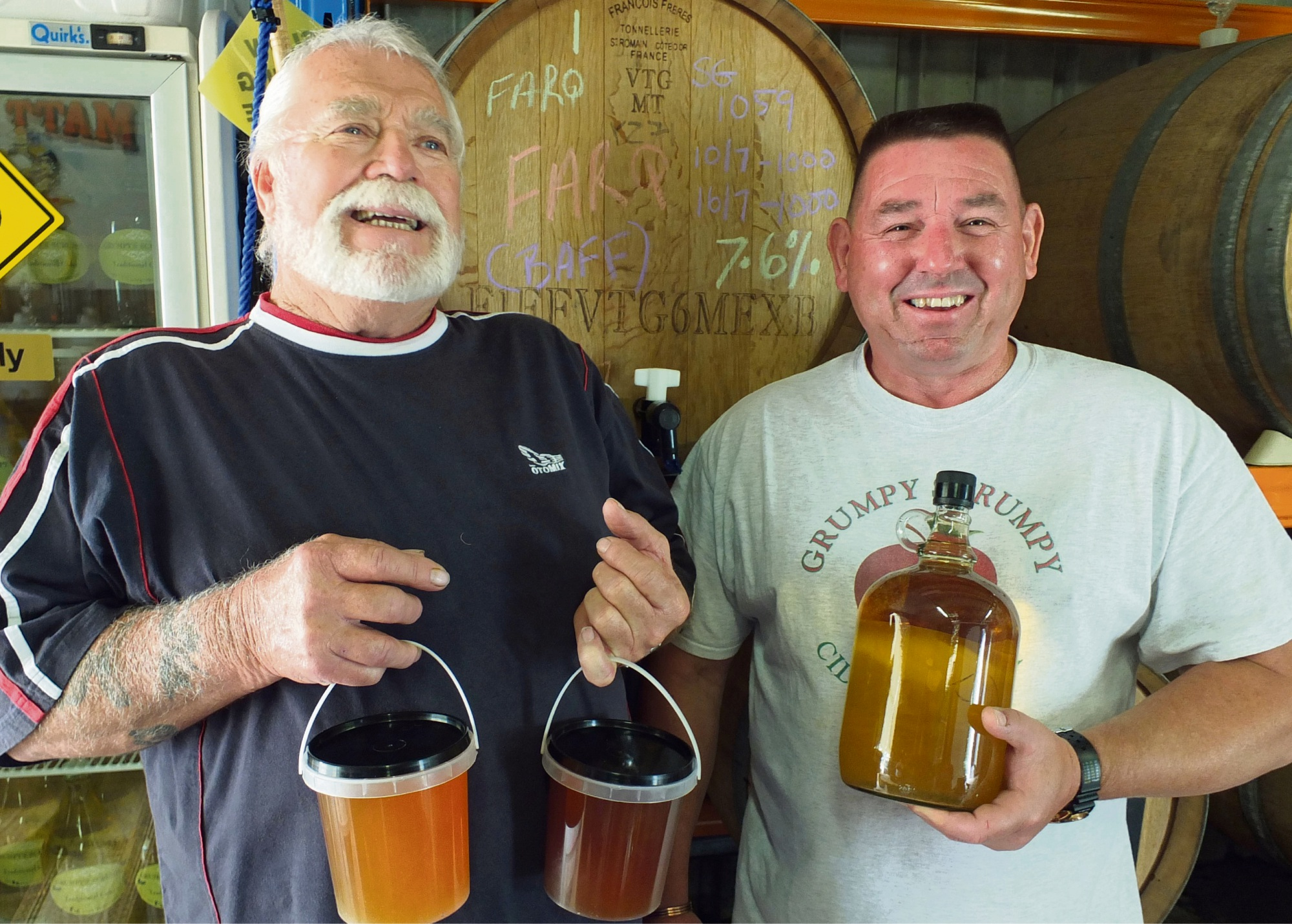 Honey producer Colin Hall and Grumpy Scrumpy cider team head Carey Morris are looking forward to showing their wares.