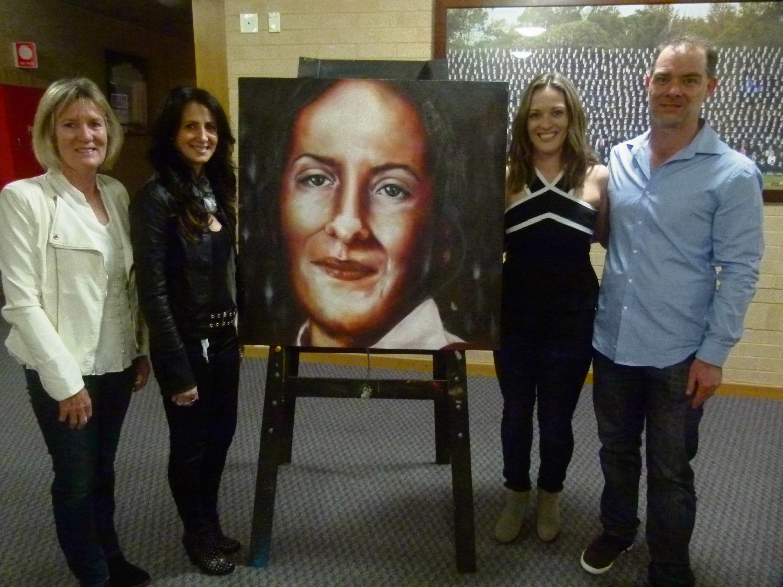 Felicity's mother Gail Park, Lisa Bowden, Felicity's sister Angela Park and Mater Dei College's Brian Morison.