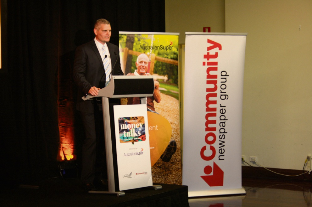 Michael Kallis from AustralianSuper addressing the crowd. Picture: Giovanni Torre
