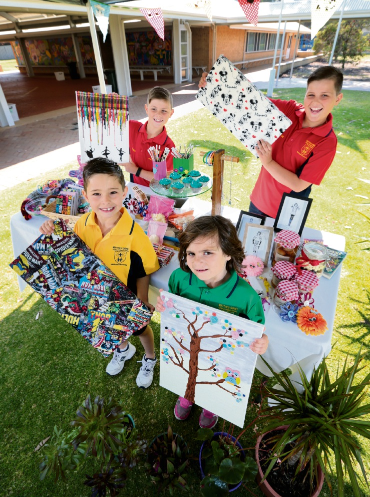 Students, at back, Harrison Alleway (8) and Mackenzie |Alleway (10), and at front, Ethan Moore (7) and Sophie Sajtinac (6) are looking forward to the school fair. Picture: David Baylis www.communitypix.com.au   d461420