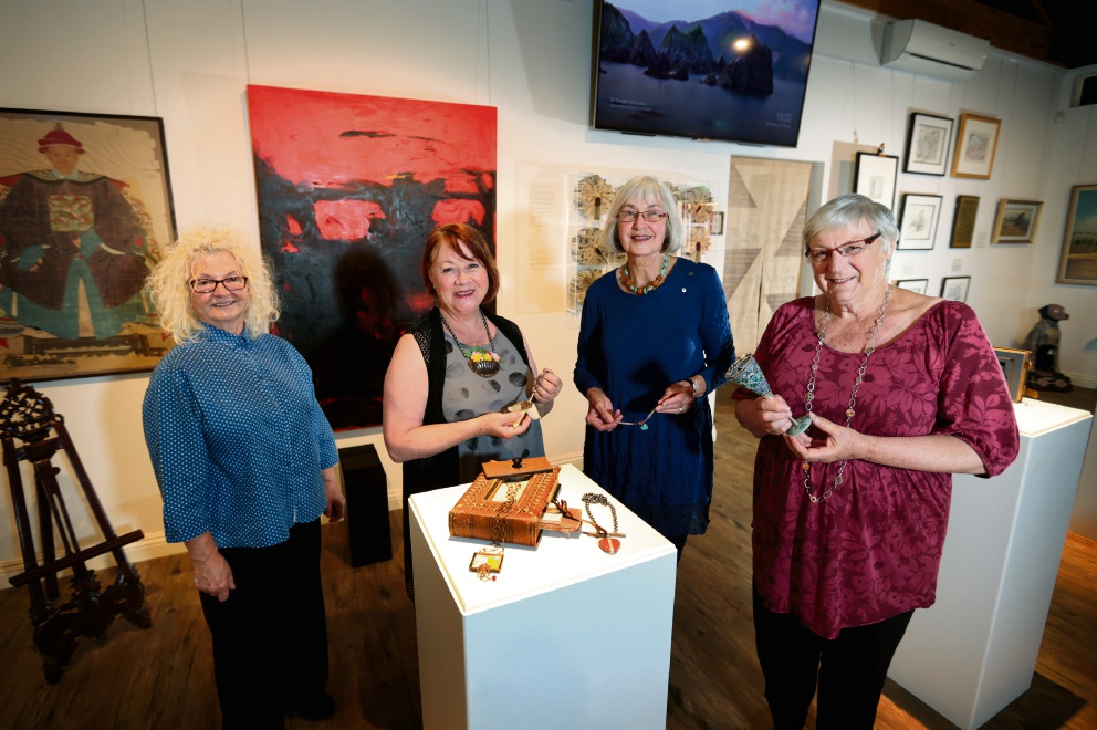 Dragica Milunovic, Kathy Aspinall, Felicity Browne and Jill Parnell are exhibiting together. Picture: David Baylis    d461333