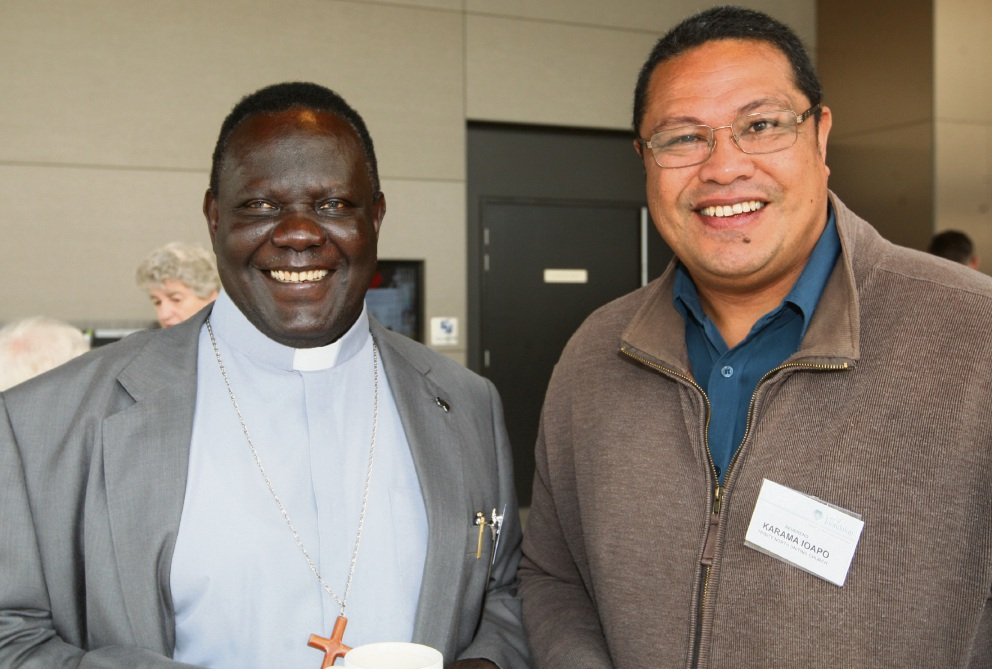 Rev. Onesimo Yugusuk and Karama Ioapo. Picture: Bruce Hunt