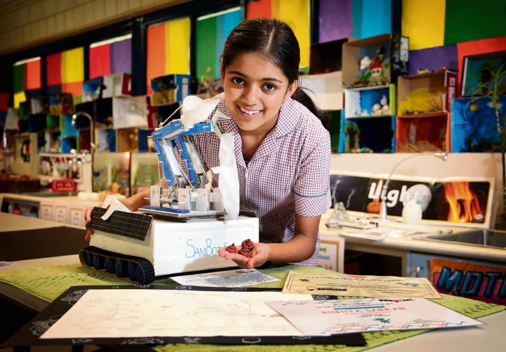 Rishita Sarkar (11), of Morley, took part in the Robo-Hero Science Competition with her robot called SaniBot 5000.   Picture: David Baylis        www.communitypix.com.au   d461566