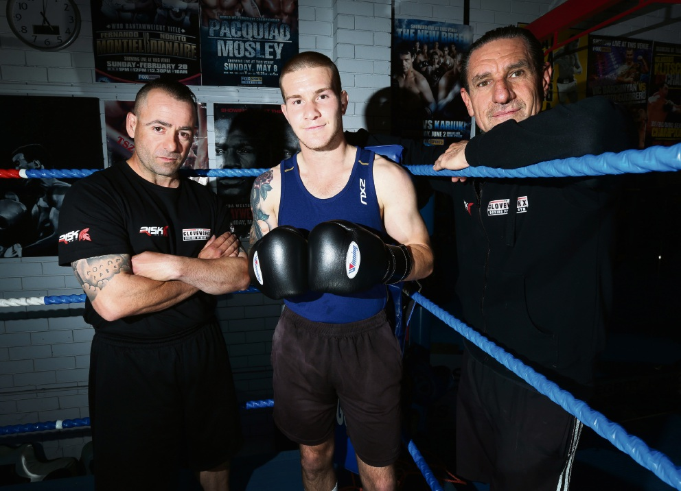 Boxer Michael Martino with coaches Pep Andrikos and Dom Urbano. Picture: Matt Jelonek        www.communitypix.com.au   d461522