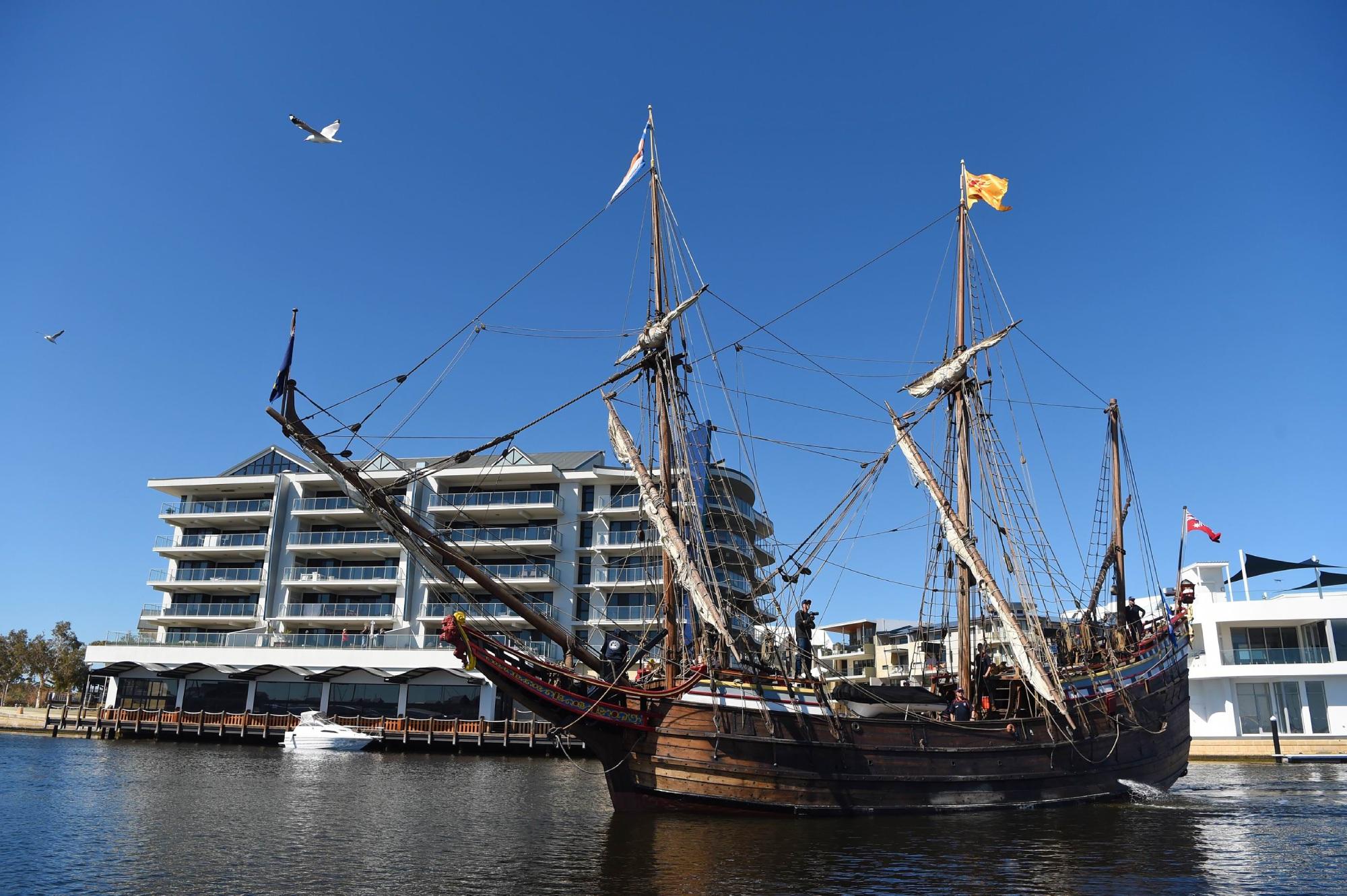 Historic Duyfken replica sails into Mandurah