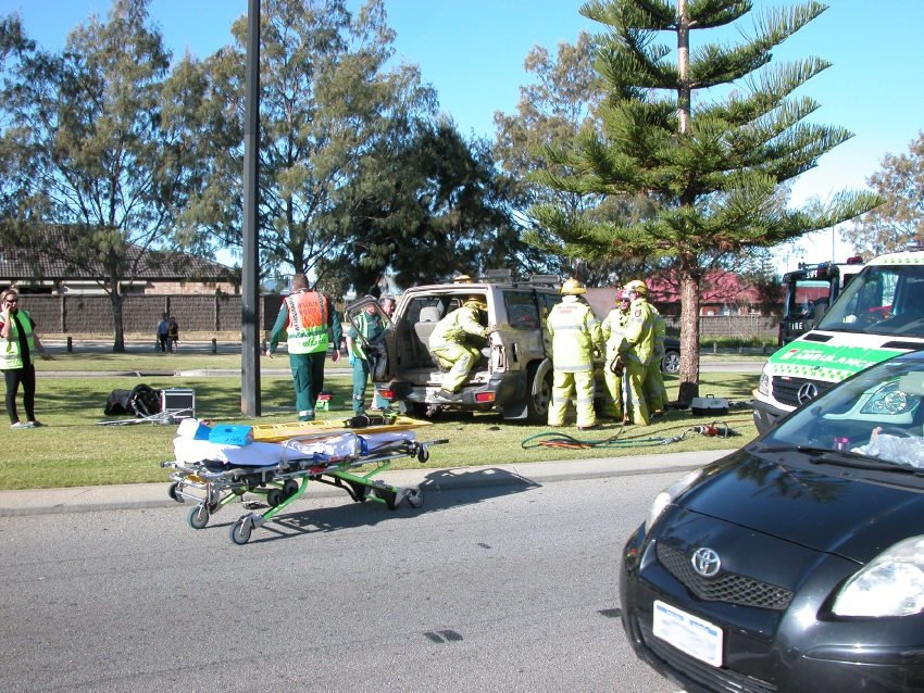 One woman was injured in a crash on Marmion Avenue, Jindalee on Monday afternoon. Pictures: Kylie Oliver